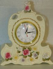 """Beautiful Ceramic Clock With Flowers Painted Excellent Condition 8.5"""" Tall"""
