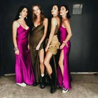 Backless Dress Maxi Slip Evening Long V-Neck Silk Satin Women Summer Cocktail