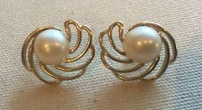 """Vintage Trifari Swirl Earring Crescent Faux-Pearl Mabe Gold-Tone CLIP 1"""""""
