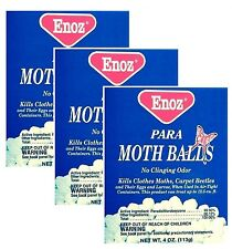 3 x ENOZ PARA MOTH BALLS Kills Clothes Moths Carpet Beetles No Clinging Odor NEW