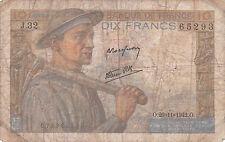 Billete De Francia - 10 Francos Dix desde 1942