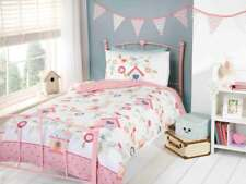 Bird Houses Girls Single Duvet Cover Set Pink Childrens - 2 Designs in 1