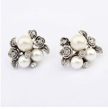 Beautiful New Vintage Pearl Flower & Crystal Cluster Stud Earrings