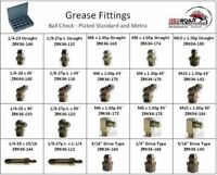 GREASE ZERK FITTING STANDARD AND METRIC ASSORTMENT 20 HOLE METAL TRAY NEW!