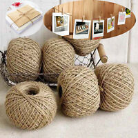 100M Natural Thick Sisal Hessian Burlap Rustic Jute Cord Twine String Photo Clip