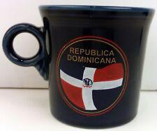 Vintage Dominicana Republica coffee cup Fiesta navy blue