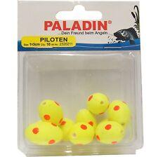 10 Pilotkugeln oval gelb/ rote Punkte 1 x 3cm Piloten für Forellen & Raubfische
