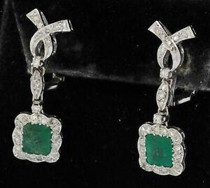 Platinum vintage 4.08CT diamond & emerald drop dangle clip-on earrings