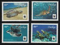 Penrhyn WWF Pacific Green Turtle Chelonia mydas japonica 4v White Frame MNH