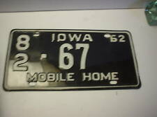 VINTAGE IOWA 1962 LOW NUMBER (67) MOBILE HOME LICENSE