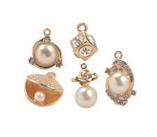 Pearl Rhinestone Golden Charms 10Pcs Mixed Lots of Faux