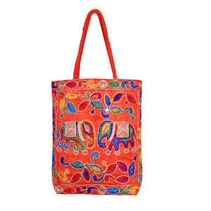 Handmade Large Faux Silk Embroidered Ethnic Tote Bags From Rajasthan - RBE-02