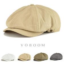 Solid Cotton Newsboy Cap Men's Vintage Gatsby Cap Flat Golf Driving Summer Hat