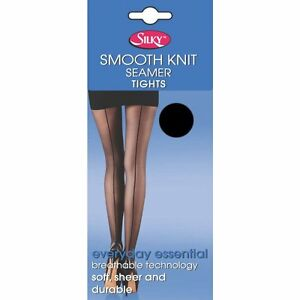Smooth Knit Seamer Tights Black and Nude with Back Seam One Size
