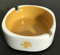 """70s Americana Yellow & White Ceramic Cigarette Ashtray """"Foremost"""" Logo"""