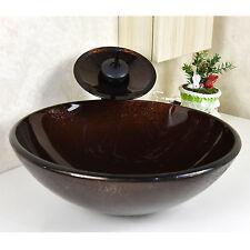 Bathroom Glass Vessel Sink Modern Faucet Oil Rubbed Bronze Pop-up Drain Set New