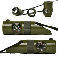 Survival Whistle Flashlight Magnifier Compass Thermometer Camping Travel Kits