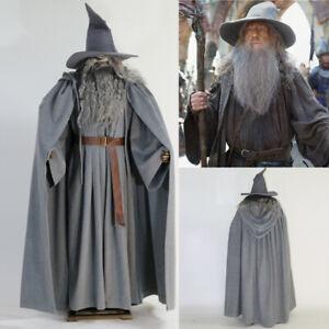 Gandalf Thick Woolen Costume The Hobbit Wizard Cloak Hat Cosplay Full Set