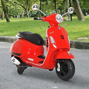 Kids Red Vespa Scooter Electric Ride-On Children Toy Gift Battery Powered Bike