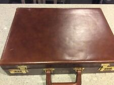 LION Leather Products Vtg Brown Leather Attache/Briefcase Made in USA