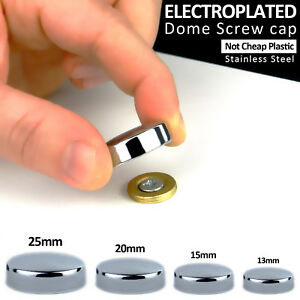 Threaded Chrome Dome Screw Snap Caps Covers Electroplated Mirror Display Hangers