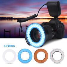 48LED Macro Ring Flash Luz Controlador Filtros Para Canon Sony Nikon SLR Cámara