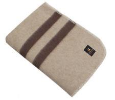 Thick Alpaca Merino Wool Blanket Throw Queen Size Warm Peru Beige Brown Stripes