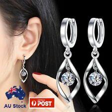 925 Sterling Silver Filled Tear Drop Hoop Earring With Crystal