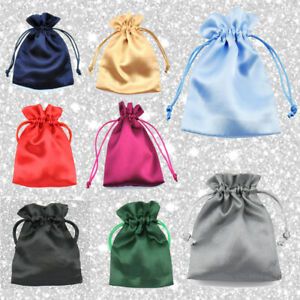 Satin Bags Wedding Favours Pouches Jewellery Party Drawstring Gift Bridesmaid UK
