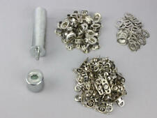Oval Einschlagstempel 17 x 11 mm  + 50 Ösen Nickel + 50 Drehverschluß