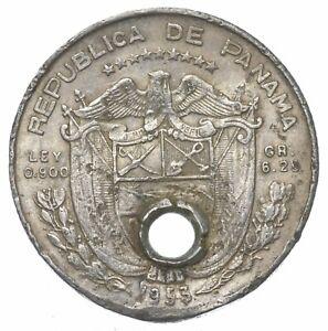 SILVER Roughly Size of Quarter 1953 Panama 1/4 Balboa World Silver Coin *190