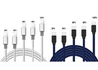 5 PACK 3FT-6FT-10 FT Heavy Duty Braided Charger Cable Cord For iPhone 12 11 X 8