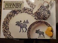 Tienshan Stoneware Folk Craft Moose Country Green Sponge 14 Piece Set, NEW