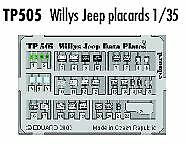 Eduard 1/35 Willys Jeep placards PRE-PAINTED IN COLOUR! # TP505