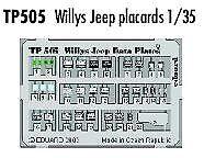 Eduard 1/35 Willys Jeep plaques pré-peint en couleur! # TP505