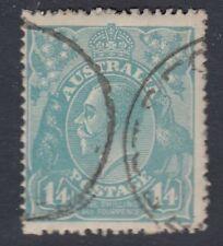 AUSTRALIA:1922 GV Heads 1/4d deep turquoise  SG 66b fine used
