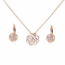 18K Rose Gold GP Swarovski Crystals Modern Set Necklace Earrings Flowers Roses