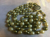 VINTAGE Chunky White Green Triple Strand Faux Pearl Necklace - Filigree Clasp #3