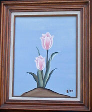 LP Lovely Rustic Outdoor Cabin Tulip Flower  Painting Signed B.S 1988