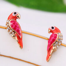 1 Pair Cute Crystal Earring Women Loverly Animal Red Bird Ear Stud Earrings CP