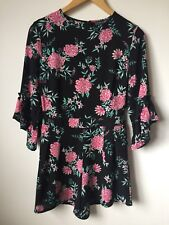 Floral Playsuit UK10 Eur38 Black Frill Sleeve Jumpsuit Summer Party Night Out