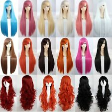 Anime Cosplay Wig Long Bangs Costume Full Head Wigs Curly Wave Straight Black g