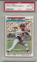 SET BREAK - 1974 TOPPS #473 W.S GAME 2 , PSA 8 NM-MT, WILLIE MAYS, HOF, NY METS