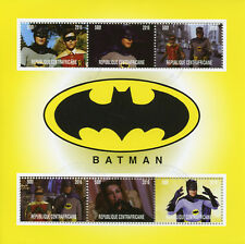 Central African Rep 2016 CTO Batman Adam West Robin 6v M/S Superheroes Stamps