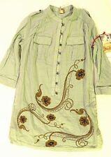 DA-NANG Women Allur Blue Embellished Long Sleeve Button Up Dress NWT Size Medium