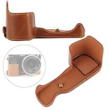 Brown Bottom Opening PU Leather Base Half Case Cover for Sony A6000 A6300 Camera