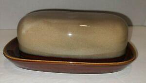 Vintage Glazed Ceramic Multitone BROWN Butter Dish, China