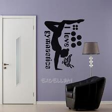 I Love Gymnastics Dancing Butterfly PVC Wall Stickers Art Girls Bedroom Decor