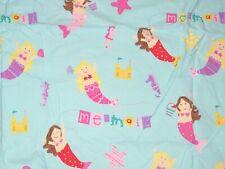 The Company Store Kids Blue Mermaid Queen Flat Sheet