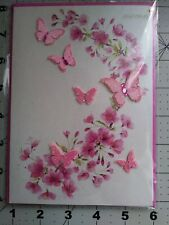 Papyrus 3D Jeweled Pink Butterflies And Flowers Card Blank Inside